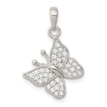 Sterling Silver CZ Butterfly Pendant