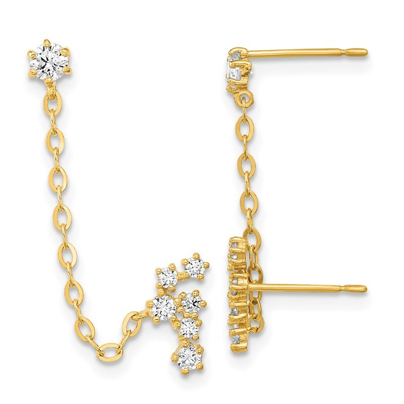 Quality Gold 14k Madi K CZ Double Post w/Chain Constellation Earring
