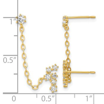 14k Madi K CZ Double Post w/Chain Constellation Earring