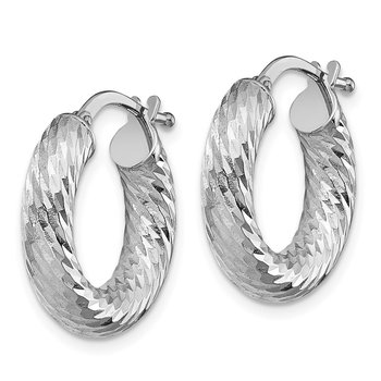 14k 4x10mm White Gold Diamond-cut Round Hoop Earrings