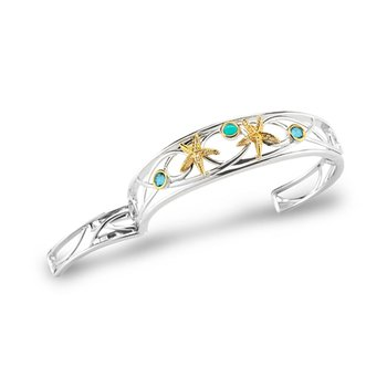 "Sterling Silver and 14K Starfish Hinged Cuff with Semi-Precious stones 1/2"" wide on top"
