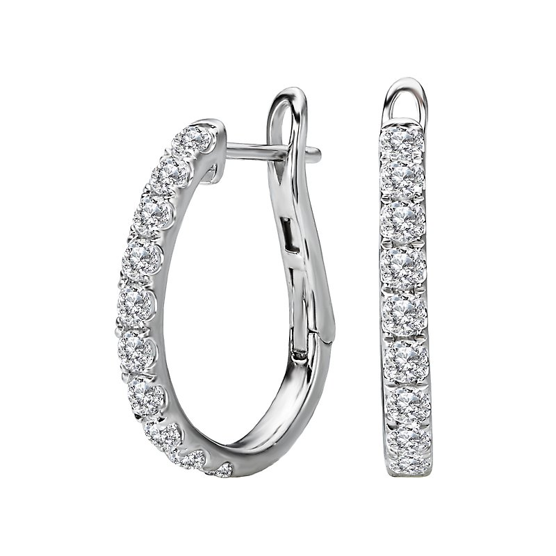 Tesoro Ladies Fashion Diamond Hoop Earrings