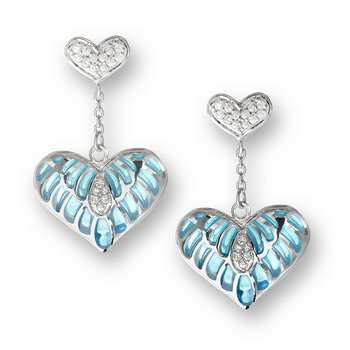Sterling Silver Heart Stud Earrings-Blue. White Sapphires