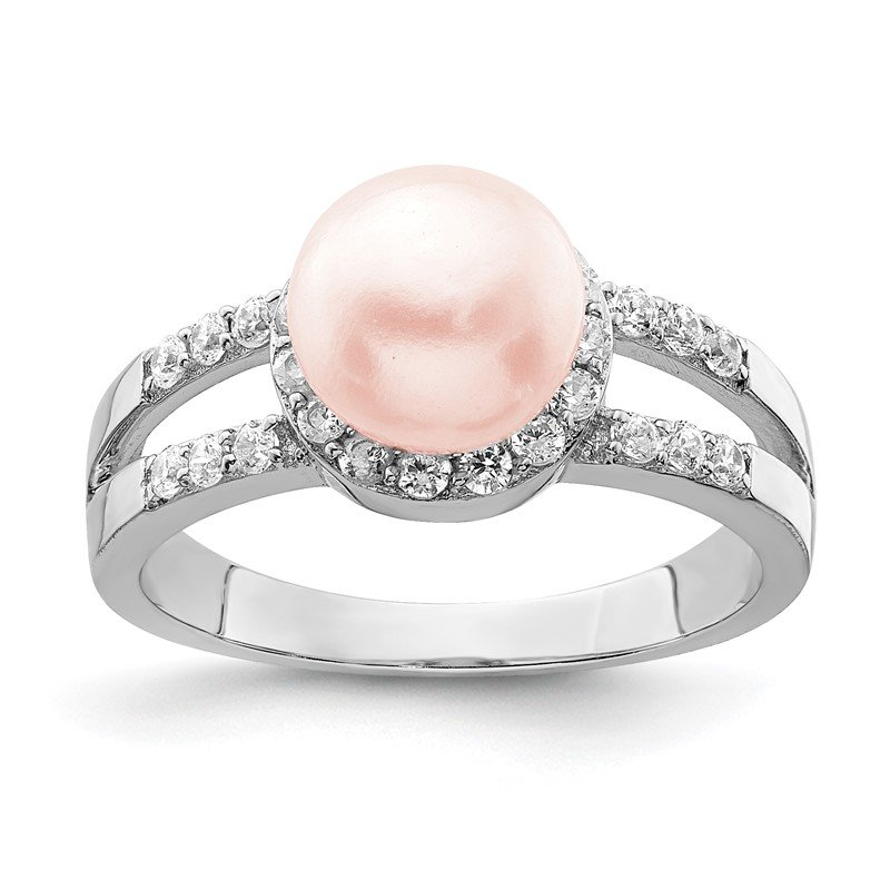 Quality Gold Sterling Silver Rhodium-plated Simulated Pearl and CZ Ring