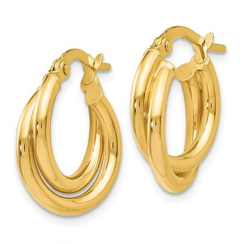 Leslie's 14K Polished Twisted Double Hoop Earrings