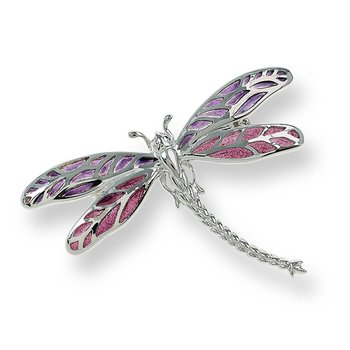 Purple Dragonfly Brooch-Pendant.Sterling Silver - Plique-a-Jour