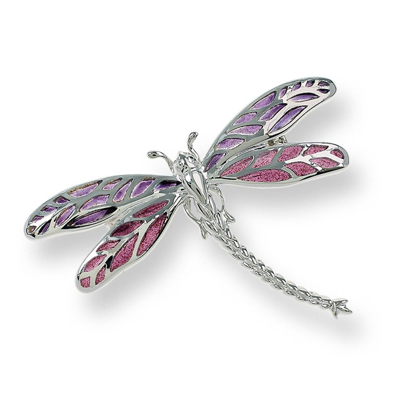 Nicole Barr Designs Purple Dragonfly Brooch-Pendant.Sterling Silver - Plique-a-Jour