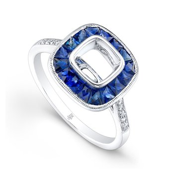 French Cut Sapphire Cushion Halo Ring