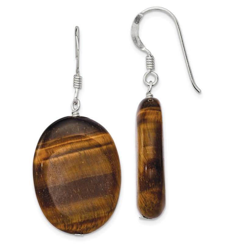 Quality Gold Sterling Silver Tigers Eye Dangle Earrings