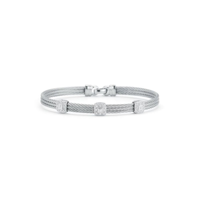 ALOR Grey Cable Classic Stackable Bracelet with Triple Square Station set in 18kt White Gold