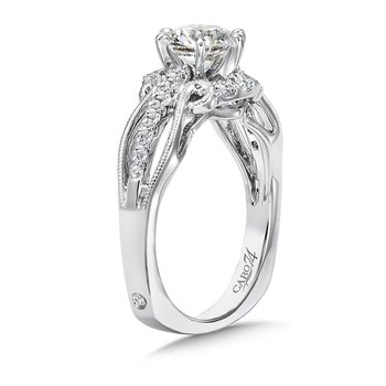 Inspired Vintage Collection Engagement Ring With Diamond Side Stones in 14K White Gold with Platinum Head (1ct. tw.)