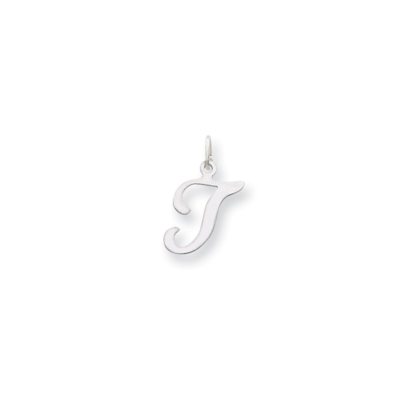 Quality Gold 14KW White Gold Script Letter T Initial Charm