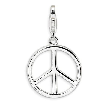 Sterling Silver Amore La Vita Rhodium-plated Large Peace Sign Charm