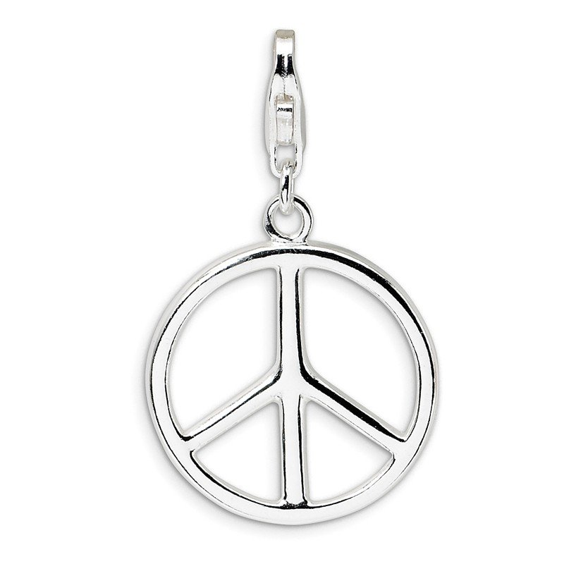 Quality Gold Sterling Silver Large Polished Peace Sign w/Lobster Clasp Charm