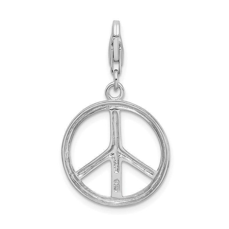 Quality Gold Sterling Silver Amore La Vita Rhodium-plated Large Peace Sign Charm