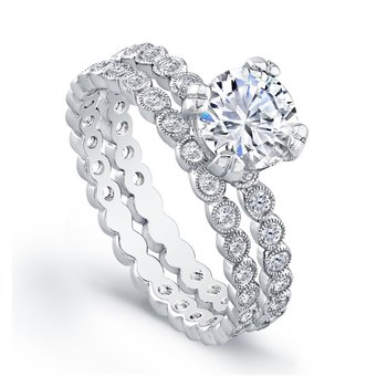 Bezel Diamond Bridal Ring and Matching Band