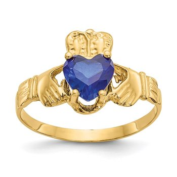 14k September CZ Birthstone Claddagh Ring