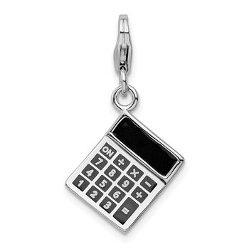 Sterling Silver Amore La Vita Rhodium-pl 3-D Enameled Calculator Charm
