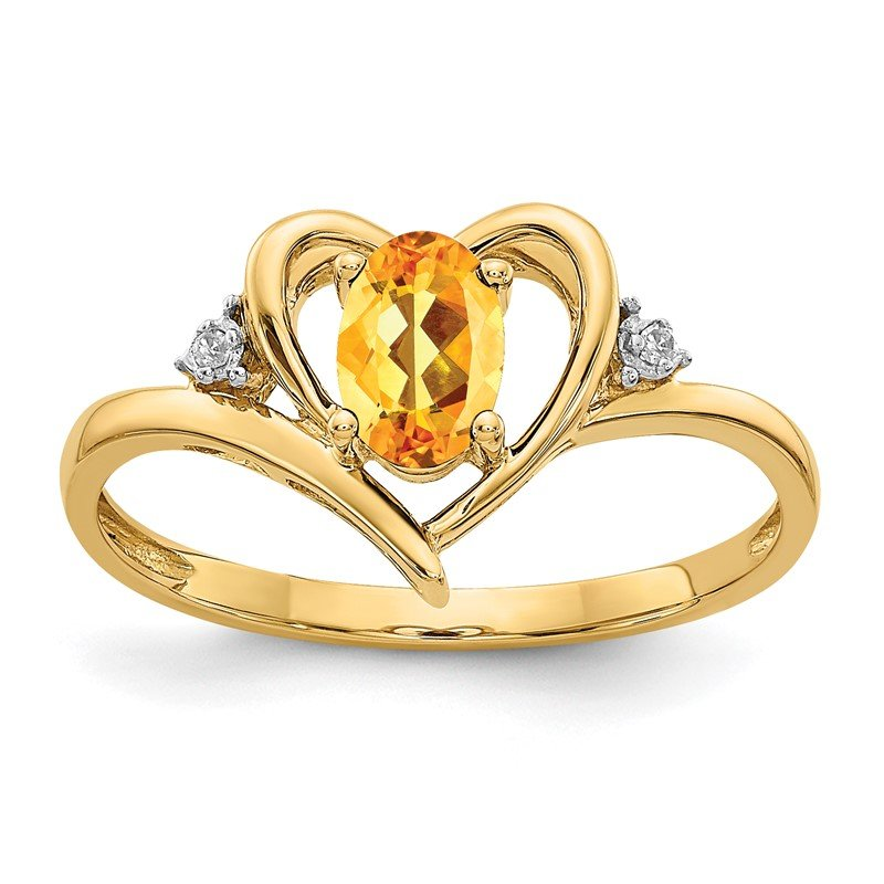 Quality Gold 14k Citrine and Diamond Heart Ring