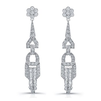 Art Deco Style Chandelier Diamond Earrings