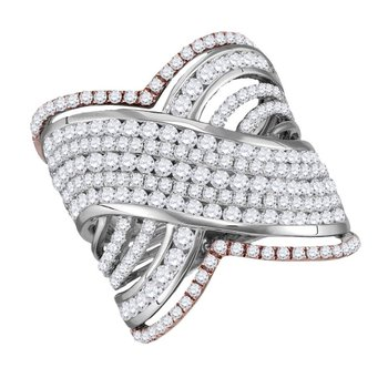 10kt Two-tone White Rose Gold Womens Round Diamond Cocktail Band Ring 2-1/2 Cttw