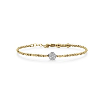 Yellow Chain Expressions Bracelet with Round Diamond Station set in 14kt White Gold