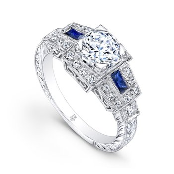 Vintage Bridal Ring with Sapphires