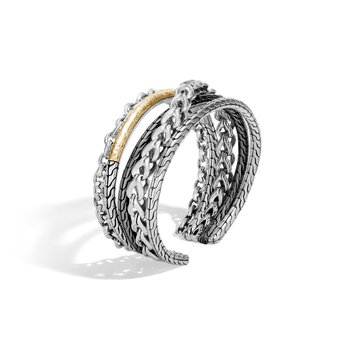 Asli Classic Chain Link Flex Cuff in Silver and Hammered 18K Gold