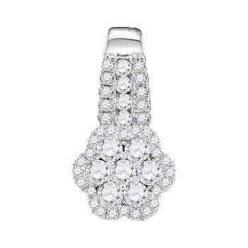 10kt White Gold Womens Round Diamond Cluster Slider Pendant 1/2 Cttw