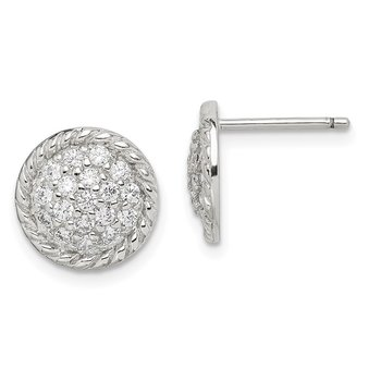 Sterling Silver Round CZ Post Earrings
