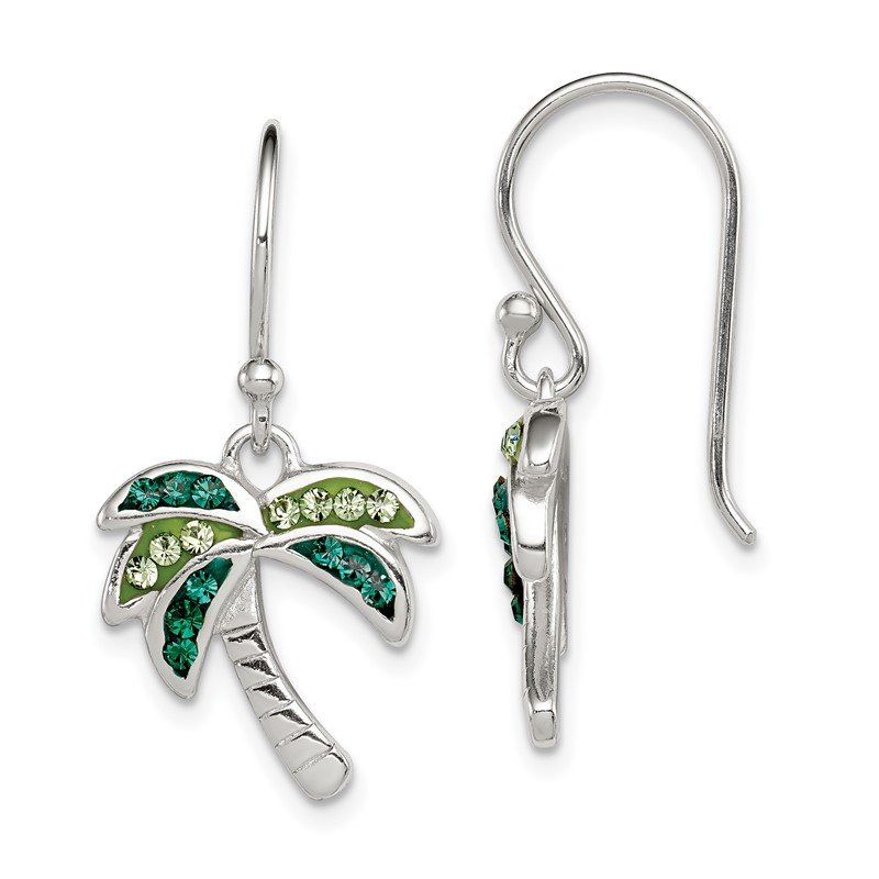 Quality Gold Sterling Silver Light/Dark Green Crystal Palm Tree Earrings