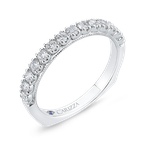 Carizza Round Diamond Half-Eternity Wedding Band In 14K White Gold with Euro Shank