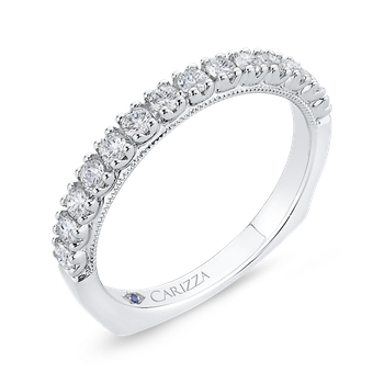 Round Diamond Half-Eternity Wedding Band In 14K White Gold with Euro Shank