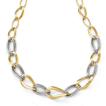 Leslie's 14k Two-tone Polished with .5in ext. Necklace