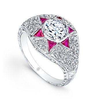 Diamond & Rubies Star Bridal Ring