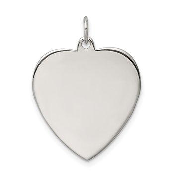 Sterling Silver Rhod-plated Eng. Heart Polish Front/Satin Back Disc Charm
