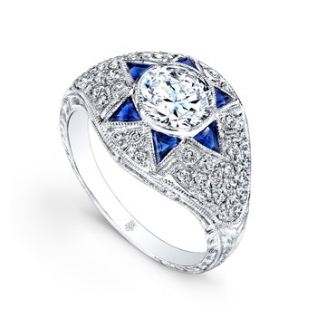 Blue Sapphire & Diamond Engagement Ring - Vintage Style