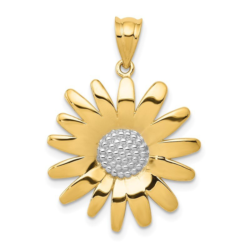 Quality Gold 14k w/Rhodium Sunflower Pendant