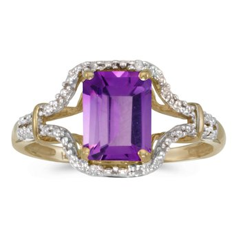 10k Yellow Gold Emerald-cut Amethyst And Diamond Ring