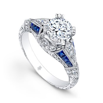 Half Moon Bridal Ring with Sapphires