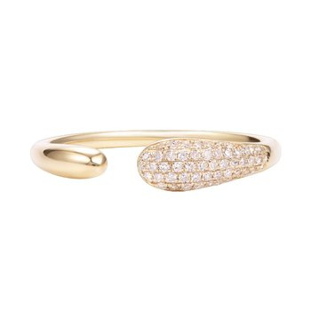 Trendy  and delicate 14K gold ring set with  0.11ct diamonds