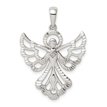 Sterling Silver Diamond & Diamond-cut Angel Pendant