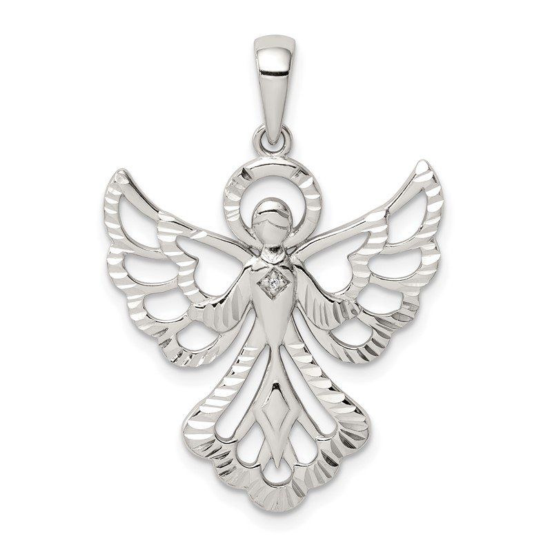 Quality Gold Sterling Silver Diamond & Diamond-cut Angel Pendant