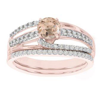 14k Rose Gold 1/2ct Morganite 3/8ct Diamond Bridal Ring Set