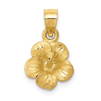 14k Satin Diamond-cut Hibiscus Flower Pendant