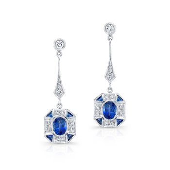 Art Deco Style Sapphire and Diamond Dangles