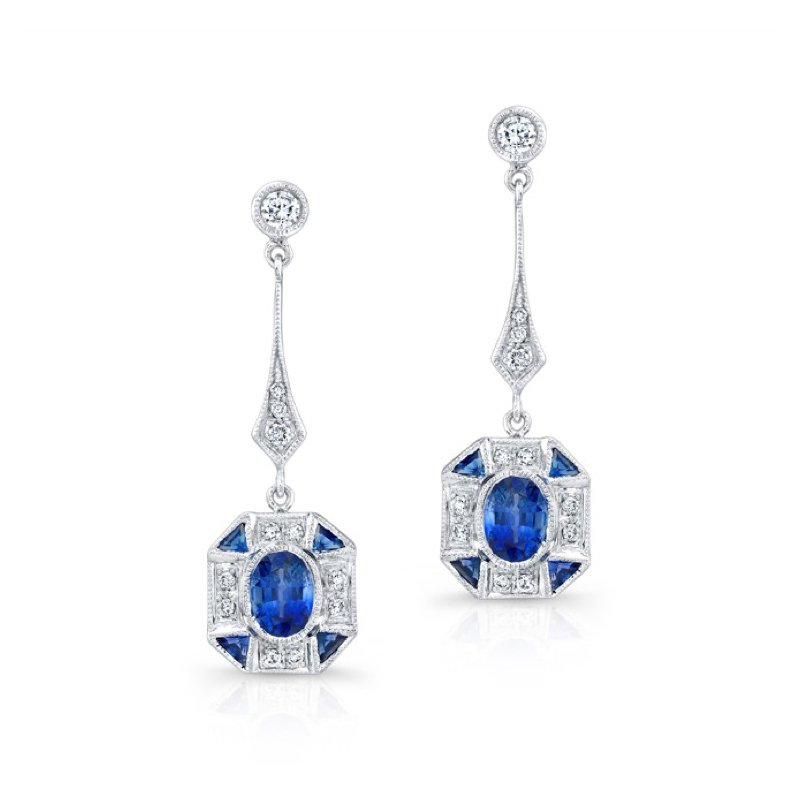 Beverley K Vintage Inspired Diamond & Sapphire Earrings