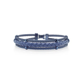 Blueberry Cable & Blue Leather Bracelet