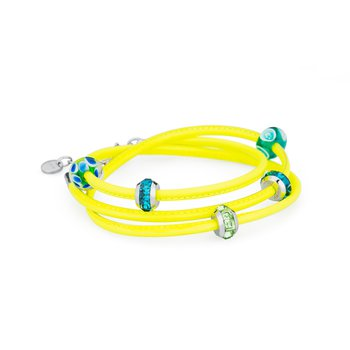 Bracelet. Fluo yellow leather with 316L stainless steel elements, coloured glass and coloured Swarovski® Elements crystals