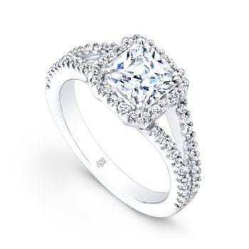 Square Halo Split Shank Bridal Ring